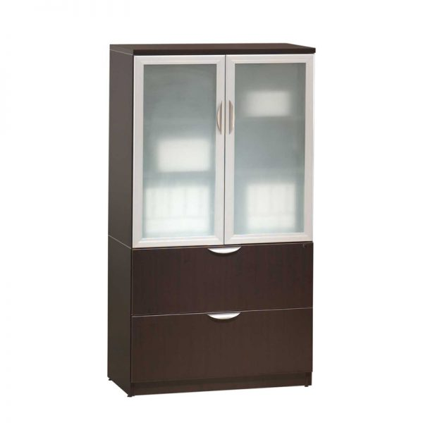 Classic Glass Door Storage Cabinet/Lateral File Combo