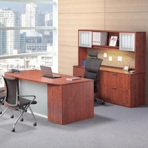 Classic Plus Bowfront Desk with Two Full Pedestals